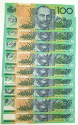 1996 UNC R616 9 x $100 CONSECUTIVE RUNNING NOTES. FRASER / EVANS. HD 96 PREFIX.