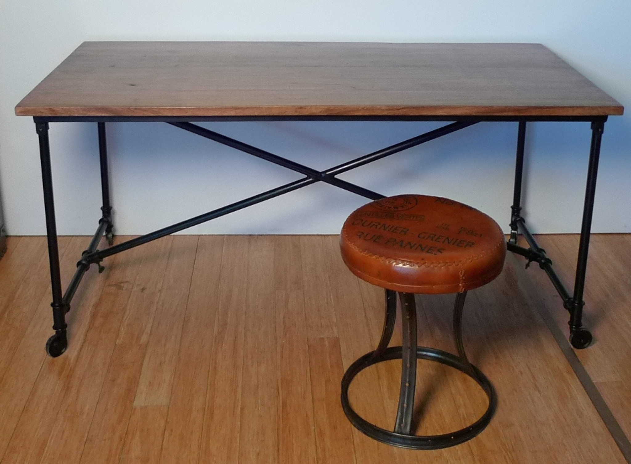 Vintage Brisbane Industrial Metal Base Solid Timber Top Table Desk 160cm X 80cm X 76cm