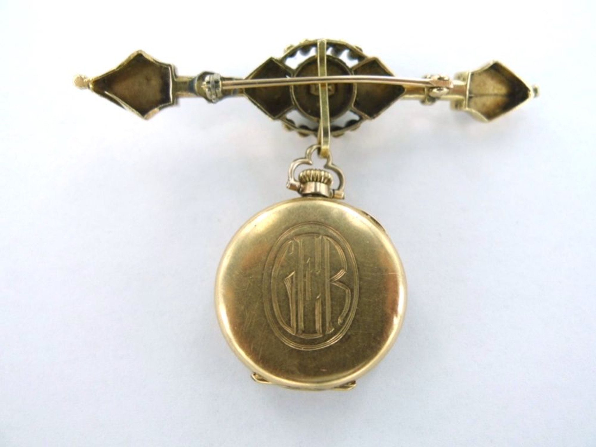 e7202885b Stunning early 1900s 14k gold & pearl ladies brooch watch in working ...