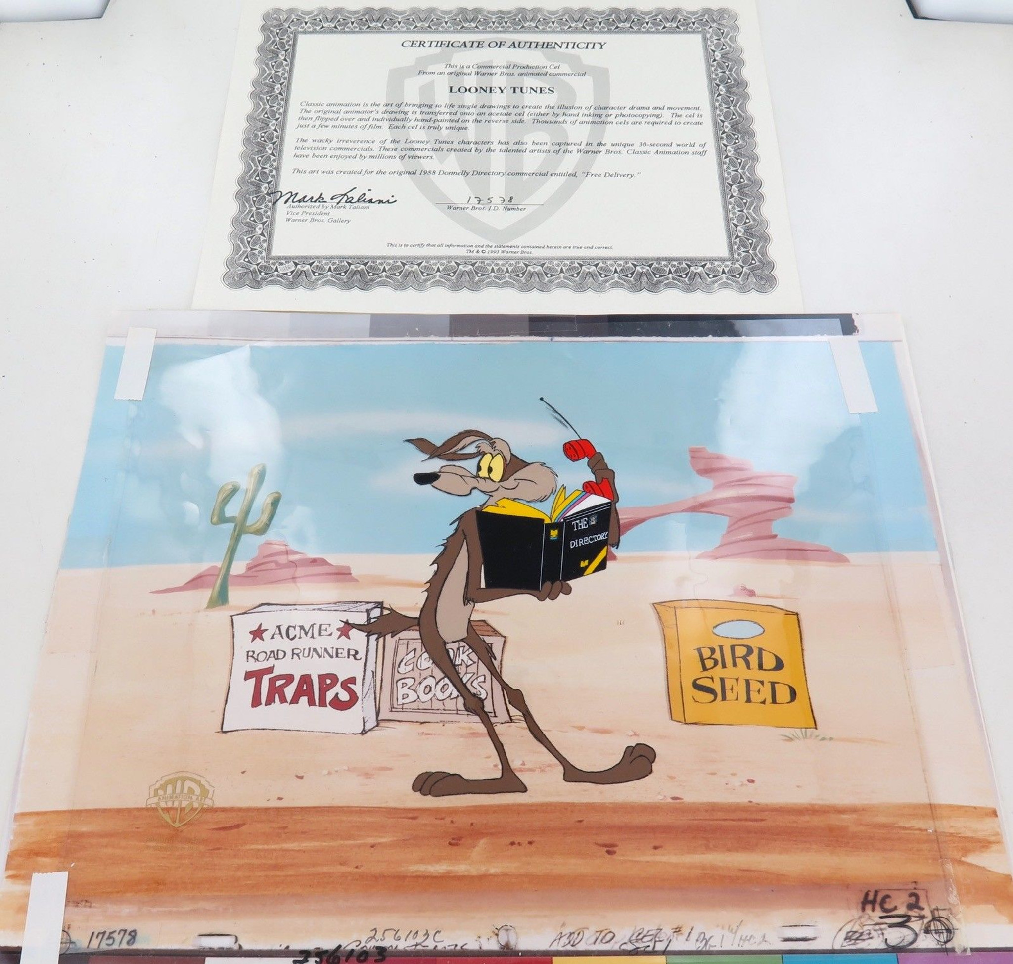 Coyote /& Rod Runner Warner Bros Hand Drawn /& Hand Painted Cel Looney Tunes
