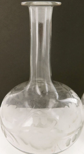 MATCHING PAIR 1800'S VICTORIAN ERA ACID ECTHED BULBOUS LONG NECK DECANTERS