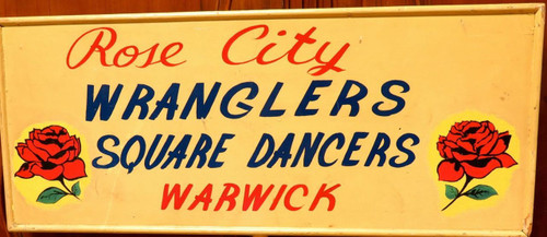 SUPER RARE / QUIRKY c1950's/60's PARADE SIGN. ROSE CITY WRANGLERS SQUARE DANCING