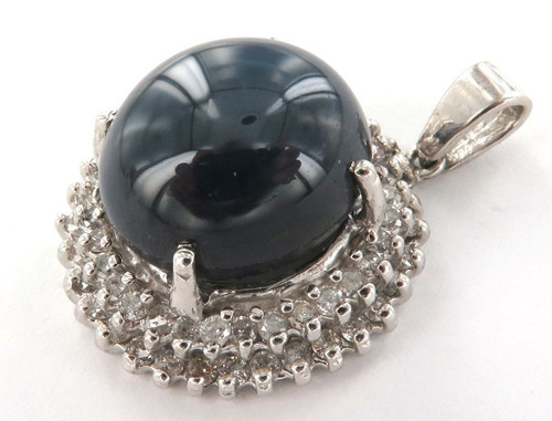 STUNNING / LARGE 14CT WHITE GOLD, DIAMOND & SYNTHETIC SAPPHIRE PENDANT VAL $2800