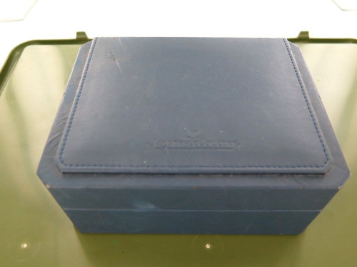 VINTAGE / COLLECTABLE JAEGER LE COULTRE NAVY BLUE LEATHER DISPLAY BOX.