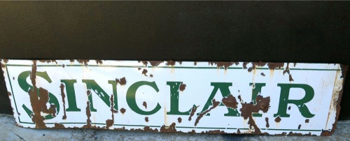 RARE c1920's LARGE AMERICAN SINCLAIR OIL / GAS STATION METAL SIGN