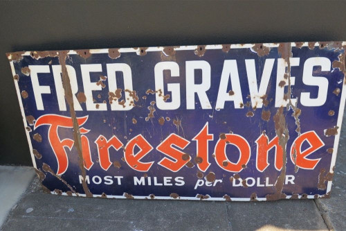 RARE c1930's FRED GRAVES FIRESTONE HUGE 1.52M METAL ADVERTISING PORCELAIN SIGN