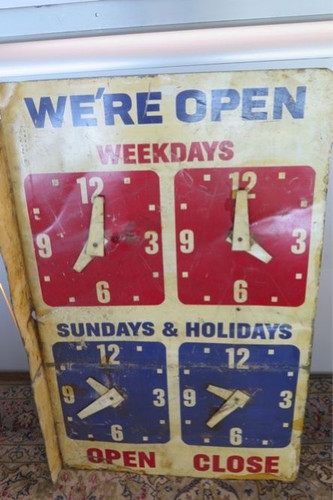 RARE c1920's / 30's AMERICAN GAS STATION OPENING HOURS LARGE DOUBLE SIDED SIGN