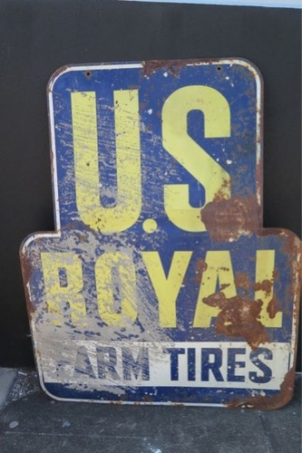 c1950'S US ROYAL FARM TIRES VERY LARGE DOUBLE SIDED ADVERTISING SIGN. 1.38m x 1m