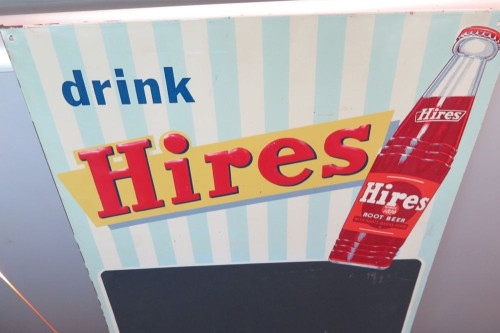 VINTAGE AMERICAN HIRES SOFT DRINK STORE SIGN.