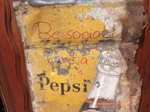 """c1930's / 40's VERY TALL PEPSI TIN SIGN. """"BE SOCIAL HAVE A PEPSI"""""""