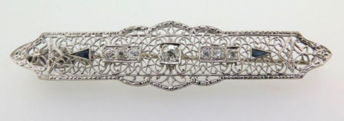 ART DECO 15CT WHITE GOLD & OLD CUT DIAMOND BROOCH VALUATION OF $5145. 1.03CTS