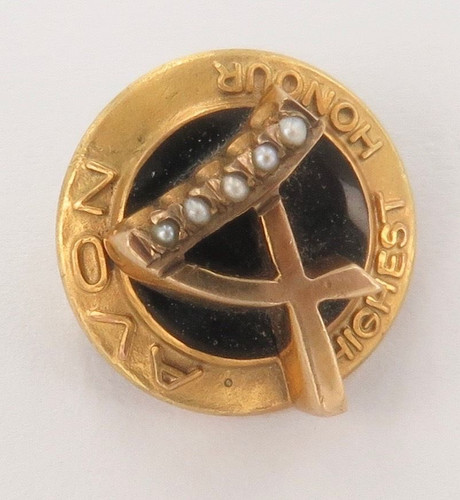 "Scare vintage Avon 9ct English hallmarked gold ""Highest Honour"" brooch"