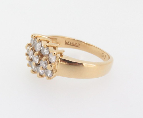 14k yellow gold Triple Row of 0.67ct diamonds set dress ring Val $2500