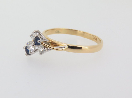 Handmade 18k Gold 0.29ct Diamond & Aust Sapphire ladies cocktail ring Val $2665