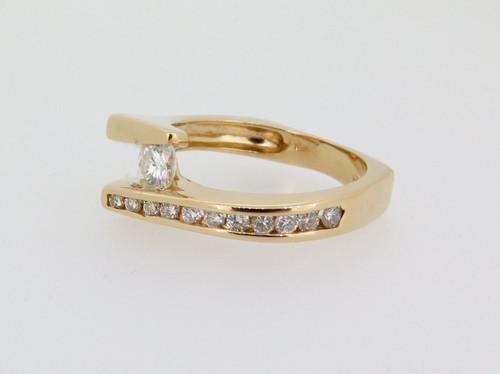 Vintage 9k yellow Gold Moissanite & Diamond Set Cocktail Ring Val $2465