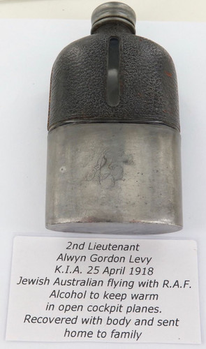 Super rare  KIA  25/4/1918  R.A.F. 2ND Lieutenant A G LEVY. engarved hip flask