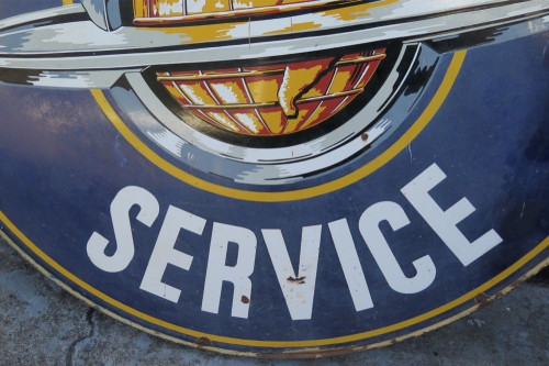 """RARE SUPERB c1950's 60"""" AMERICAN OLDSMOBILE SERVICE DOUBLE SIDED PORCELAIN SIGN"""