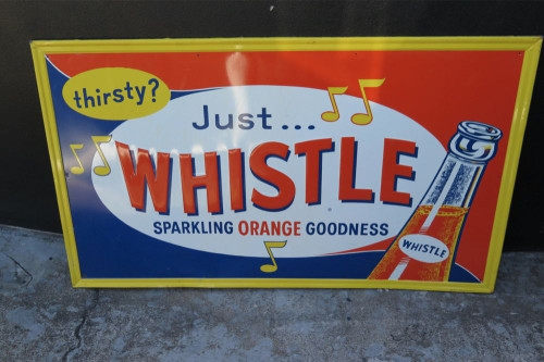 RARE LARGE AMERICAN WHISTLE SODA EMBOSSED TIN SIGN