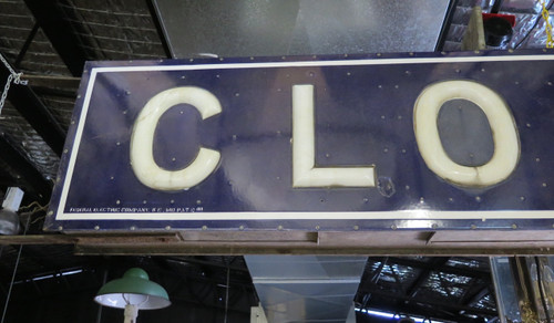 1920s FEDERAL ELECTRIC COMPANY 3.76M CLOTHING DOUBLE SIDED PORCELAIN MILK GLASS SIGN