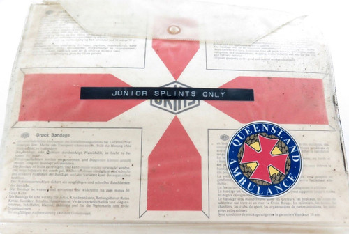 Rare obsolete Q.A.T.B. QLD Ambulance Junior Splint Kit