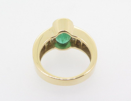 Mid Green 3.39ct Emerald & 2.04ct Diamond 18k Gold Dress Ring Val $14750