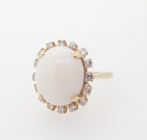 Vintage Opal & Diamond 14k Yellow Gold Ladies Halo Ring Size F Val $3970