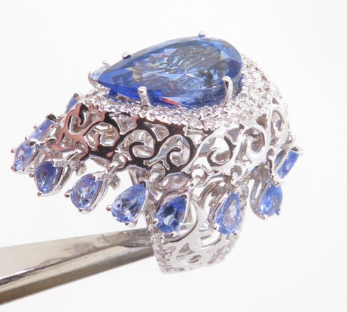 WOW- 12.6ct Violet Blue Tanzanite & Diamond Set 18k White Ring Size N Val $21360