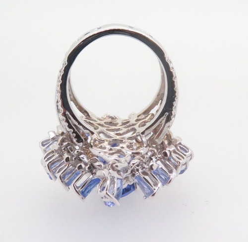 WOW- 12.6ct Violet Blue Tanzanite & Diamond Set 18k White Ring Size N Val $21360
