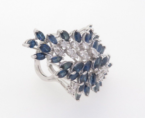 14k White Gold 1.20ct Diamond & Aust Sapphire Ladies Cluster Ring Val $9345