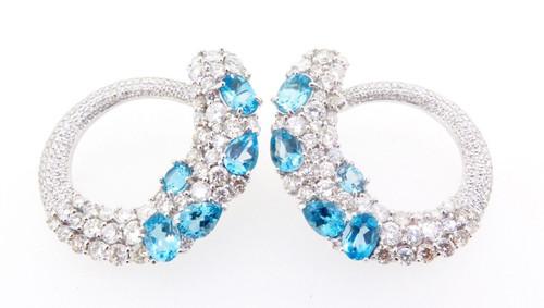 A Stunning Pair of 18k White Gold 6.48ct Diamond & Topaz Earrings Val $16500