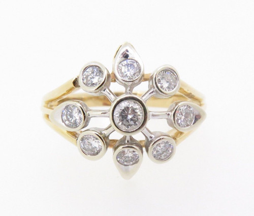 Vintage Star Design 1.00ct Diamond 14k Yellow Gold Cluster Ring Size T Val $5285