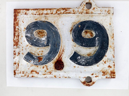 "Exceedingly rare QLD Rail early 1900s ""69 / 99 miles to?""  cast iron mileage sign"