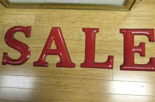 "RARE UNUSUAL VINTAGE c1950's LARGE ENAMEL ""FOR SALE"" SIGN"