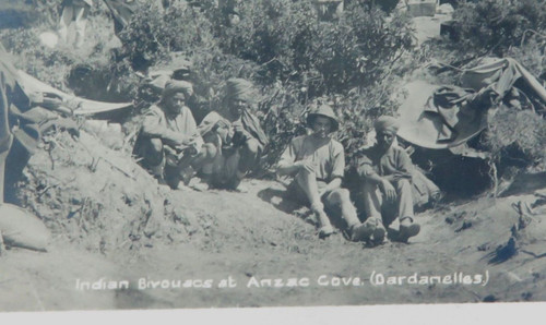 Rare WW1 ANZAC Cove (Dardanelles) Gallipoli real photo postcard. Indian Bicoouacs