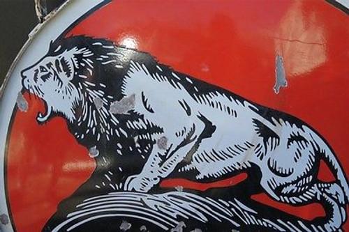 c1930's / 40's AMERICAN LION MOTOR OIL GAS STATION LARGE ENAMEL SIGN
