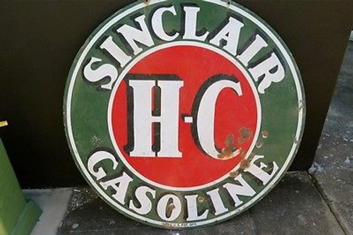 GAS PETROL SIGNS BOUGHT AND SOLD OLD USA SINCLAIR H-C GASOLINE LARGE 120CMS DOUBLE SIDED ENAMEL SIGN