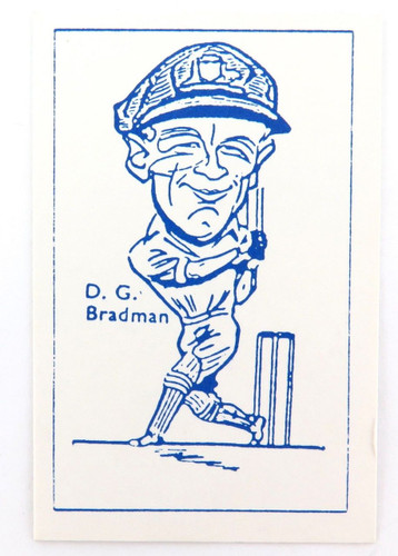 Scarce anonymous Don Bradman caricature trading card. Possibly W R Priddy, UK