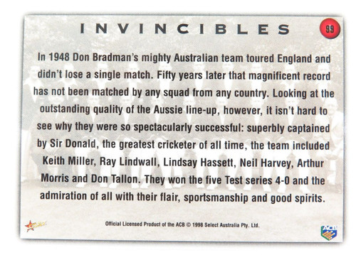 1998 Don Bradman / 1948 Invincibles ACB / Select Australia card. Variation #2