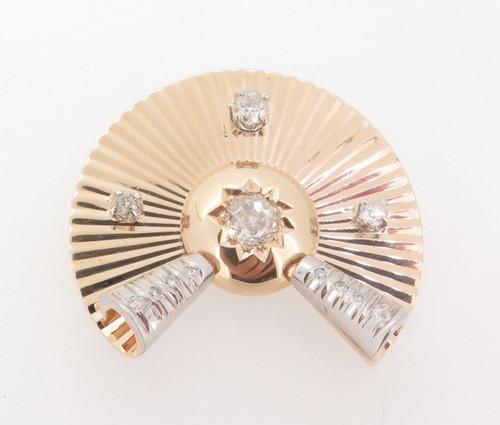Vintage 14ct Gold 1.20ct Old Cut Diamond set Deco Style Brooch Val $6680