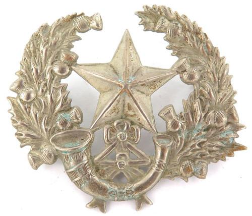 LARGE / VINTAGE BRITISH MILITARY SCOTTISH RIFLES CAMERONIANS METAL BADGE.