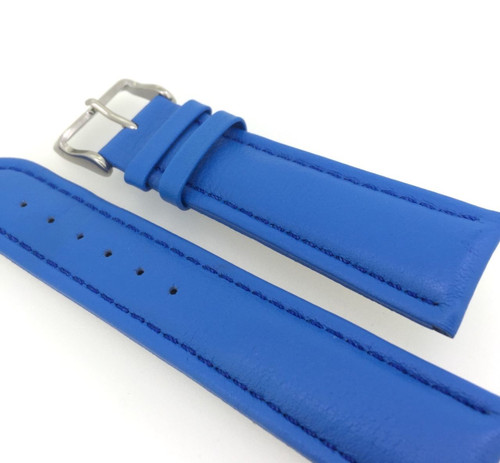 22MM HIGH GRADE 'FRENCH BLUE' LEATHER STRAP & STEEL BUCKLE BY GLYCINE #N