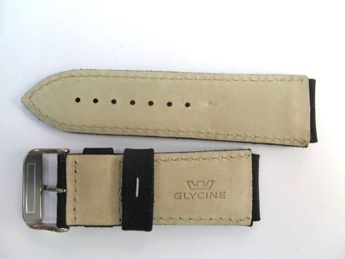 24MM GERMAN MADE HIGH GRADE BLACK CANVAS & LEATHER STRAP BY GLYCINE # C