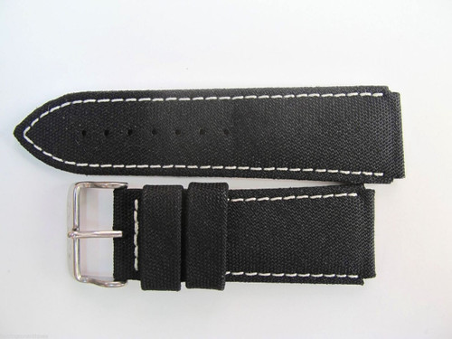 24MM HIGH GRADE GERMAN BLACK CANVAS STRAP & STEEL BUCKLE BY GLYCINE BRISBANE Harrington Vintage Watch Strap Woolloongabba