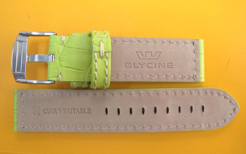 22MM GERMAN MADE GREEN LEATHER STITCHED STRAP & STEEL BUCKLE BY GLYCINE #V