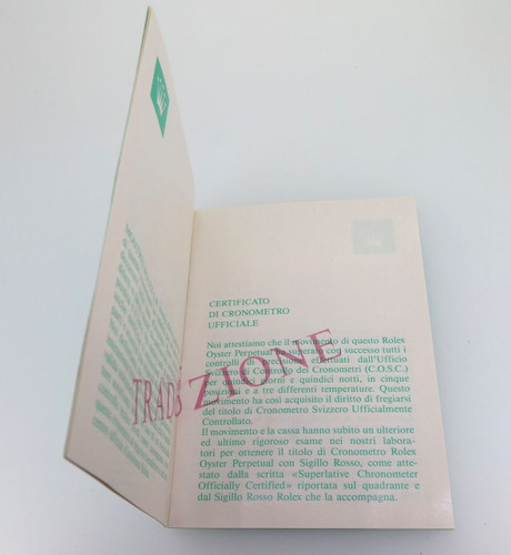 ROLEX TRANSLATION BOOKLET IN NICE CONDITION. 565.00.1W