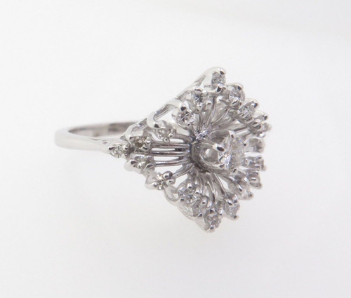 0.40ct Diamond Claw Set 14k White Gold Dress Ring Size O Val $2635