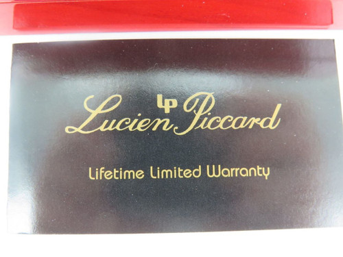 LUCIEN PICCARD SUPERB RED LAQUERED WATCH DISPLAY BOX & OUTER
