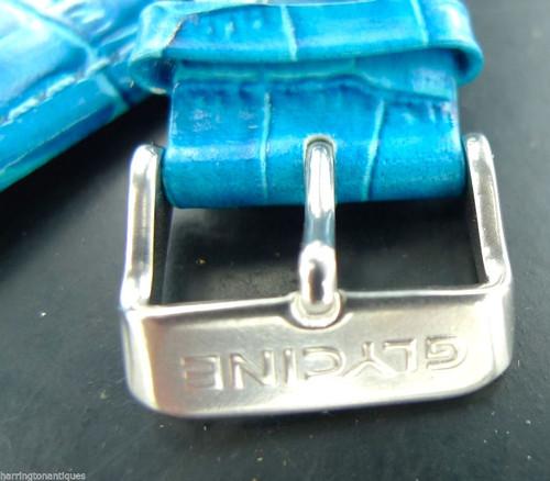 24MM BLUE GLOSS LEATHER STRAP & STEEL BUCKLE BY GLYCINE #J