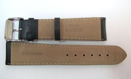 24MM XLONG SMOOTH GRAIN BLACK LEATHER STRAP & STEEL BUCKLE BY GLYCINE #N