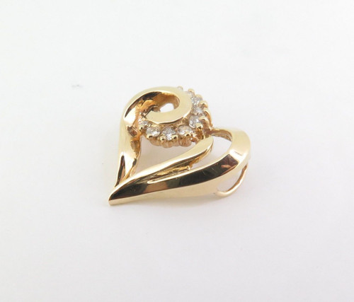 Stylised 14ct Yellow Gold 0.40ct Diamond Set Heart Pendant with Val $2140